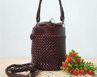 66ba9b3cba04 Woven Leather Bag Handmade Tote Women Crossbody Full Grain Top Grain Hobo  Handbag
