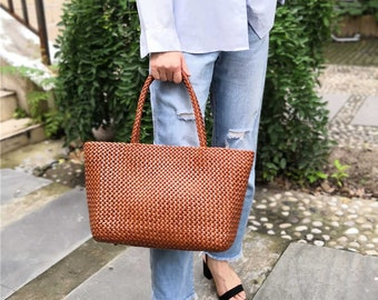 Woven Leather Bag Handmade Tote Women Crossbody Full Grain Top Grain Hobo  Handbag c7579f79f82b1