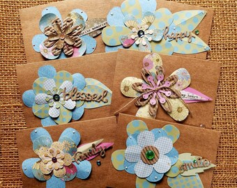 Assorted handmade cards,Greeting card set,Blank cards,All occasion cards,Paper collage cards,Handmade flowers,Note card set,Fancy note cards