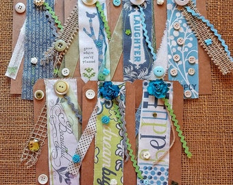 Handmade tags,Burlap tags,Gift wrapping,Collage tags,Embellishments,Junk journal,Altered tags,Amy Butler fabric,Tags with ribbon,Paper tags