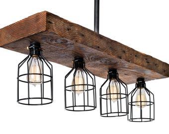 Farmhouse Style Reclaimed Wood Light Fixture