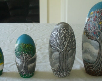 Handpainted Seasonal Wooden Egg
