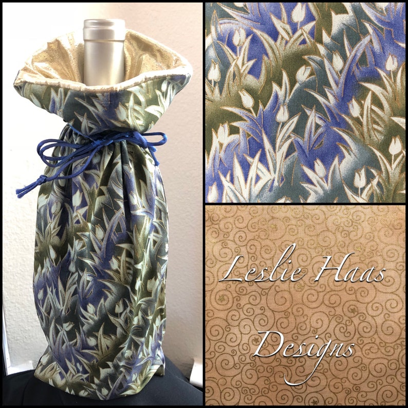 Medium Gift Bag GreenBlueGold GBM-41-500-M-LR10 Limited Edition Fabric Tulips Fully Lined with Gold Lam\u00e9