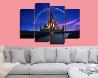 castle poster princess canvas girls print wall decor wall art large print multi panel home decoration