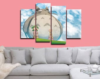 Totoro Poster Totoro Canvas Totoro Anime Print Wall Decor Wall Art Large Print Multi Panel Home Decoration Birthday gift Canvas art