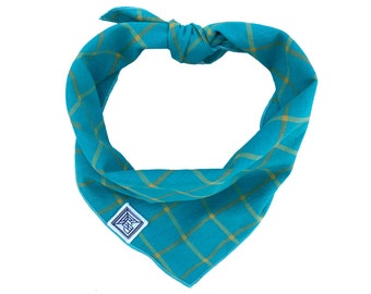 Aster Dog Bandana | Teal Dog Bandana | Handcrafted Modern Tie-on Dog Scarf