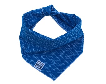 Larkspur Dog Bandana   Blue Dog Bandana   Handcrafted Modern Tie-on Dog Scarf