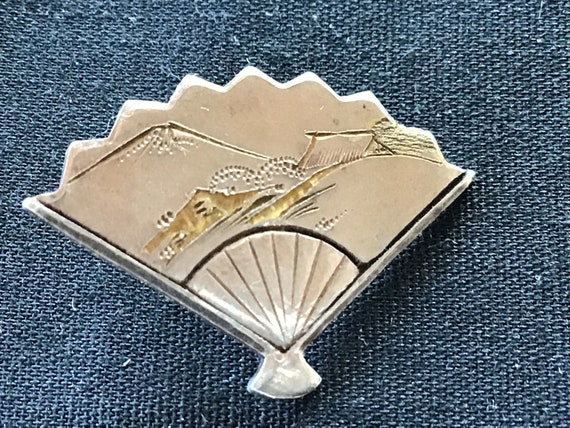6 Vintage Japanese Silver Fan Buttons