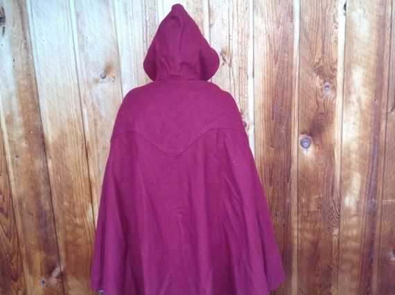 Vintage Red Wool Cape with Hood