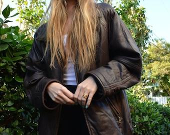 Chocolate Brown Leather Jacket Vintage 90/'s Women/'s Genuine Leather Blazer Medium Size
