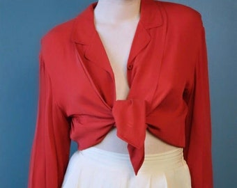 ef893d5d37be5 vintage red silk top   red silk blouse   vintage silk blouse   silk top   red  silk button down   august silk top   XS S M