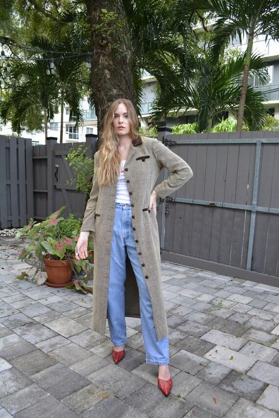 vintage long blazer / brown long blazer / tan blaz