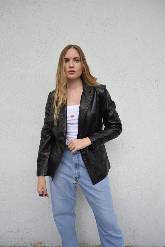 vintage leather jacket / y2k leather jacket / sho… - image 2