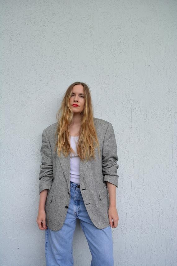 vintage grey blazer / vintage herringbone blazer /