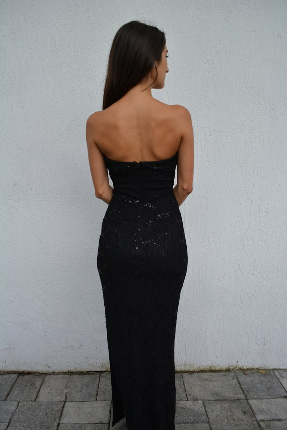 vintage lace maxi dress / strapless formal dress … - image 4