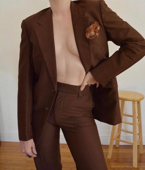 vintage retro suit / brown suit / womens brown sui