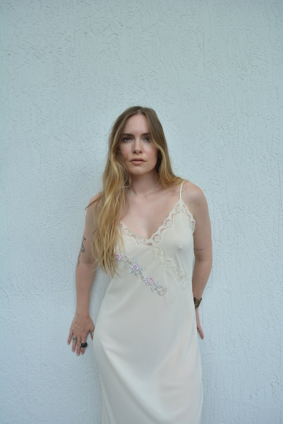 vintage cream slip dress / floral slip dress / fl… - image 6