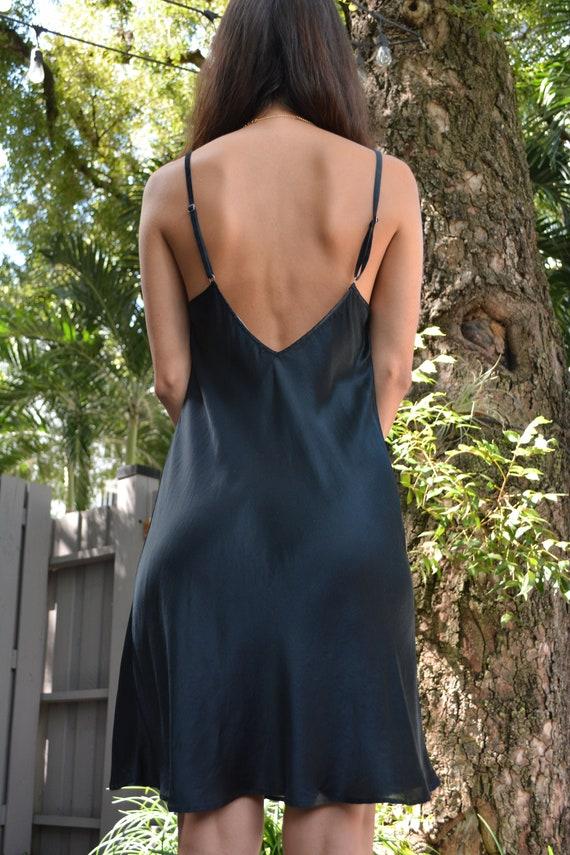 vintage black slip dress / black silk slip dress /