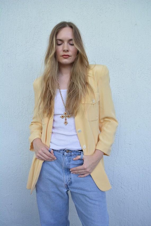 vintage yellow blazer / yellow blazer top / silk b