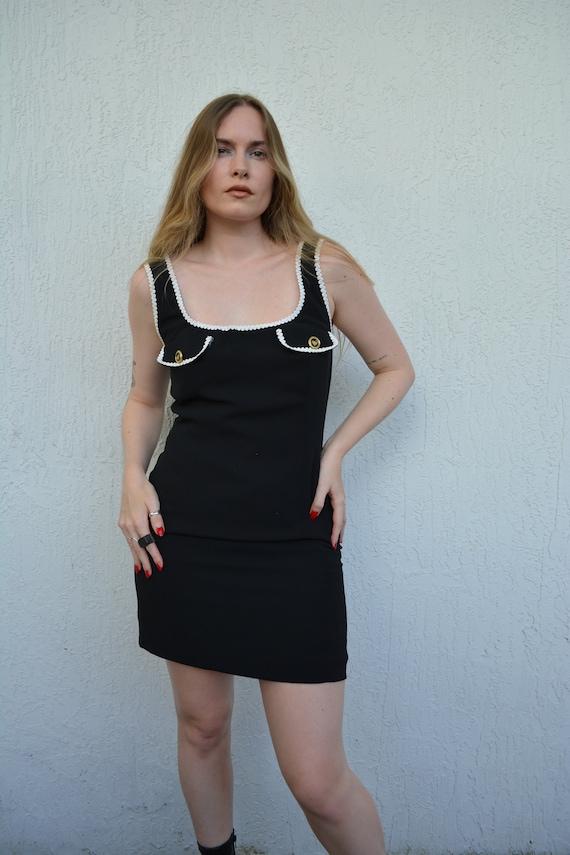 vintage 60s mini dress / 60s little black dress /