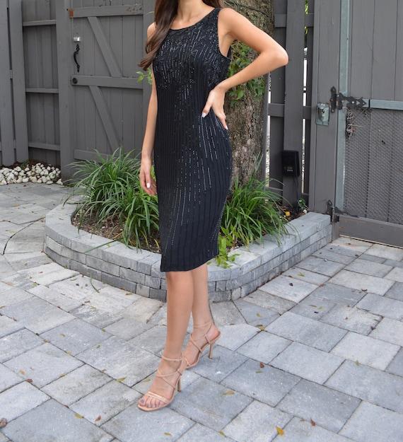 vintage silk dress / vintage sheath dress / black… - image 7