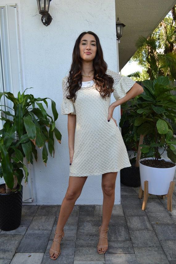 vintage ivory dress / vintage 70s dress / vintage