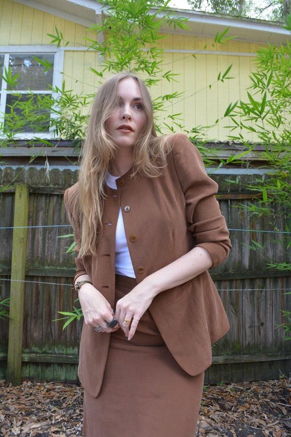 vintage 90s skirt set / vintage brown skirt set /