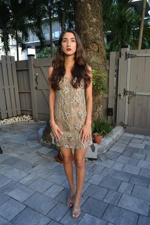vintage mini dress / gold mini dress / cynthia row