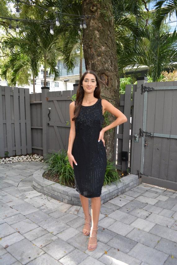 vintage silk dress / vintage sheath dress / black… - image 3