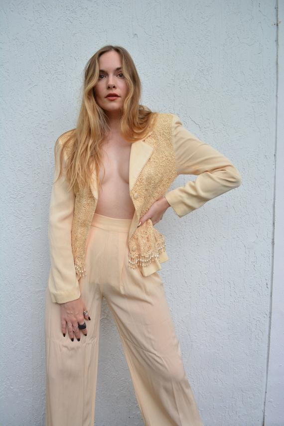vintage suit set / vintage yellow suit set / 1960s