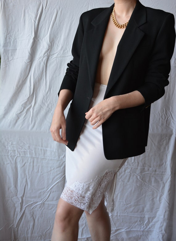 vintage white slip skirt / white slip skirt / whit