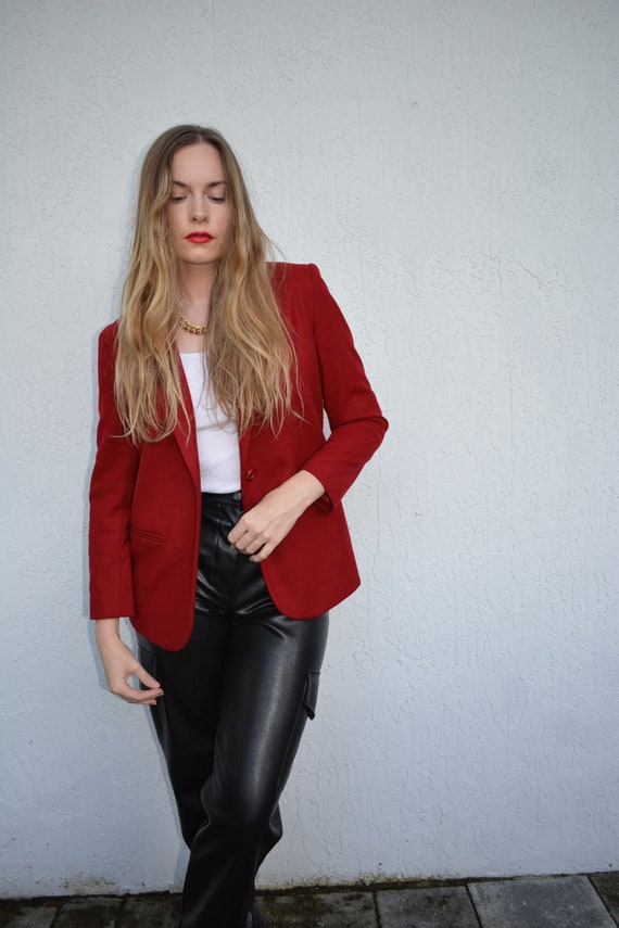 vintage wool blazer / red wool blazer / red wool s
