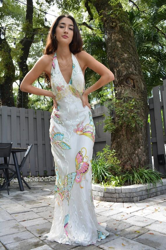 vintage beaded formal gown / y2k formal dress / wh