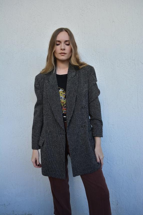 vintage unique blazer / vintage pinstripe blazer /