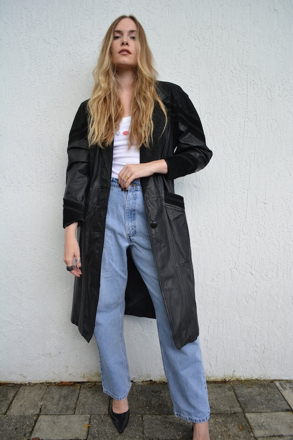 vintage 80s leather jacket / 80s trench coat / 80s