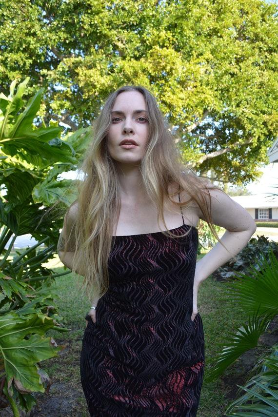 vintage goth formal dress / vintage black maxi dre
