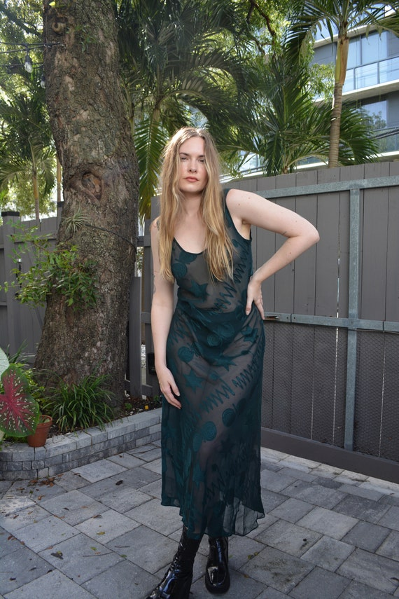 vintage sheer midi dress / vintage victoria secret