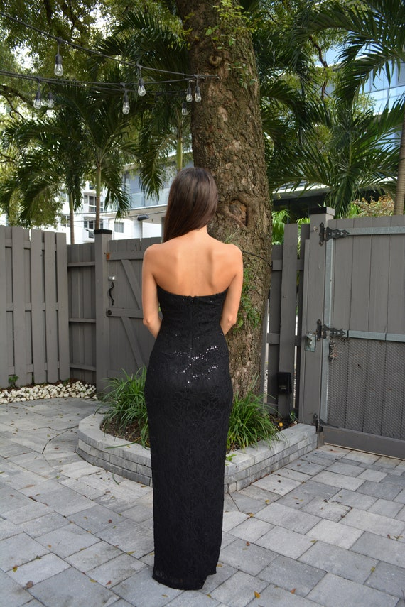 vintage lace maxi dress / strapless formal dress … - image 9