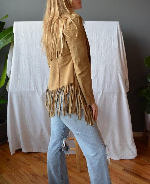 tan suede jacket / fringe jacket / womens fringe j