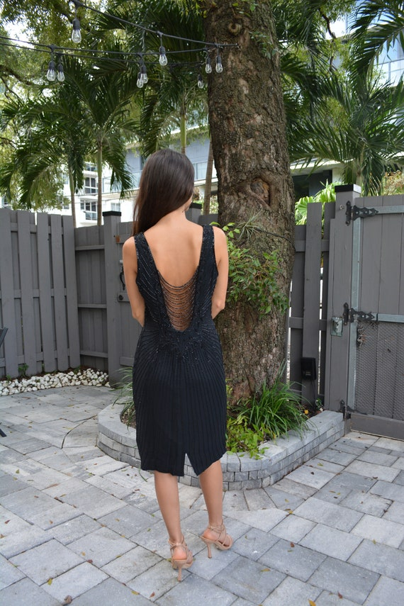 vintage silk dress / vintage sheath dress / black… - image 5