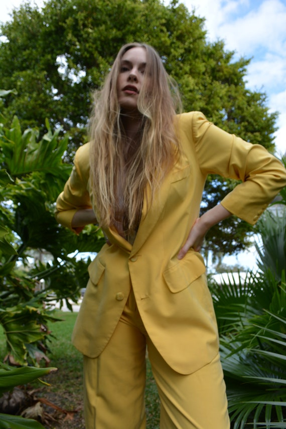 vintage yellow suit set / vintage silk suit set /