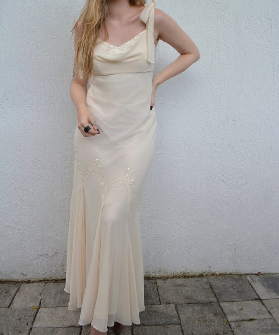 vintage formal dress / ivory beaded dress / cream