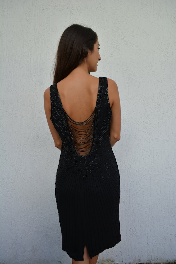 vintage silk dress / vintage sheath dress / black… - image 1