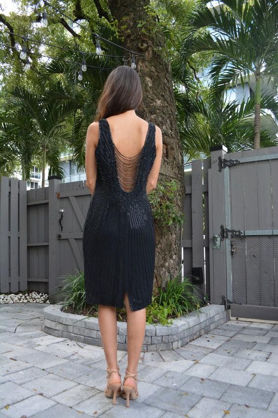 vintage silk dress / vintage sheath dress / black… - image 9