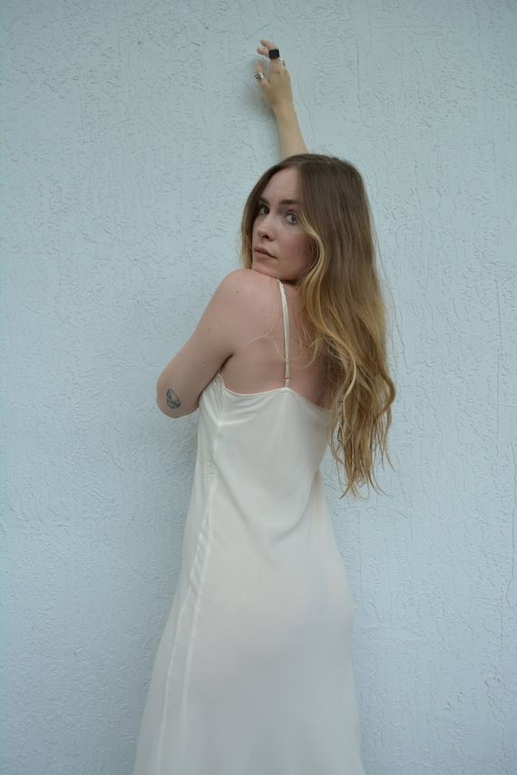 vintage cream slip dress / floral slip dress / fl… - image 8