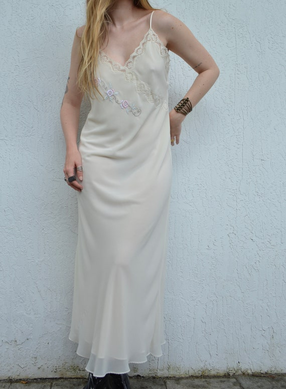 vintage cream slip dress / floral slip dress / fl… - image 7