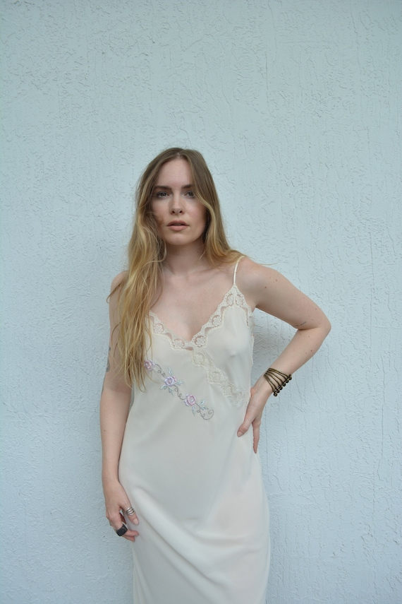vintage cream slip dress / floral slip dress / fl… - image 5