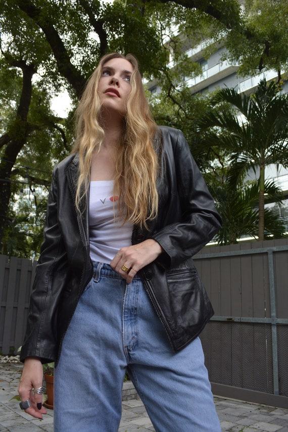 vintage leather jacket / y2k leather jacket / sho… - image 7