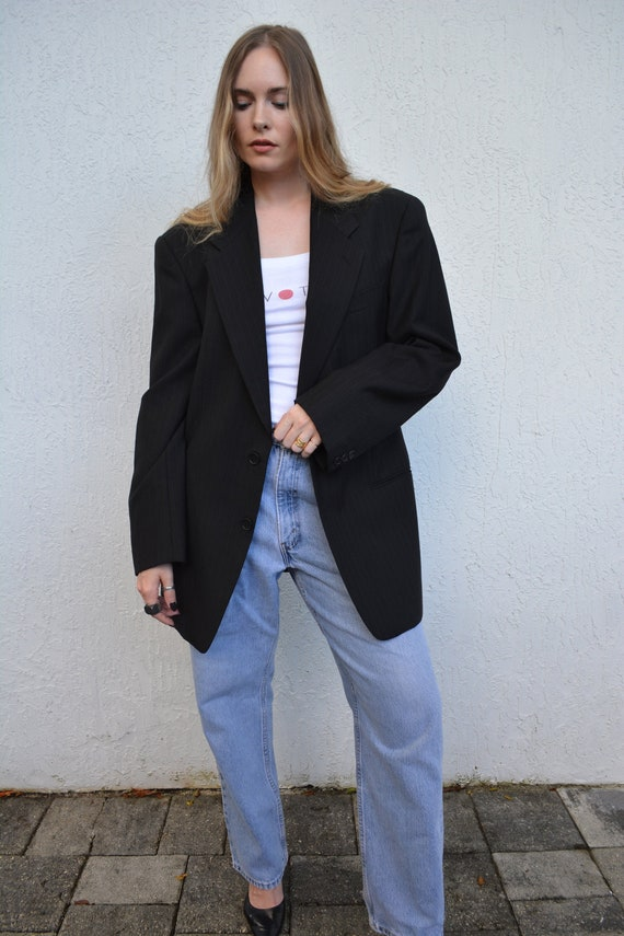 vintage pinstripe blazer / black pinstripe blazer