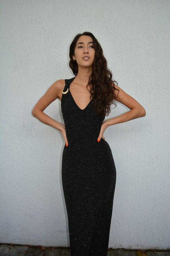 vintage 90s midi dress / sparkle midi dress / moon